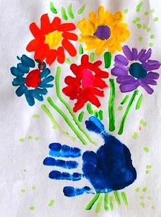 ideia do dia handprint flores da mãe arte