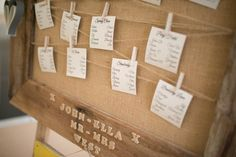 Family Farm Yellow Marquee Wedding Hessian Peg Table Plan http://www.fayecornhillphotography.co.uk/