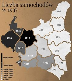 Number of passenger cars in Poland in 1937 Poland Map, Old Maps, Historical Maps, Planer, Politics, Cards Against Humanity, Number, Cars, Albania