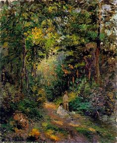 Autumn, Path through the Woods, 1876 by Camille Pissarro. Impressionism. landscape. Private Collection