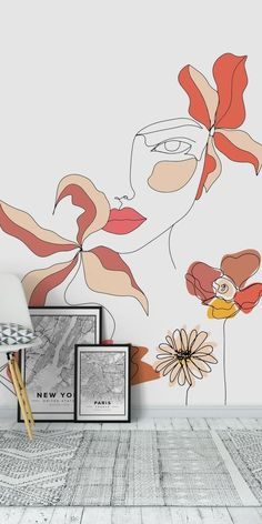 Creative Wall Painting, Wall Painting Decor, Mural Wall Art, Creative Walls, Simple Wall Art, Wall Drawing, Female Art, Wall Design, Line Art