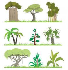 9 Vector Jungle Trees Illustrations - https://gooloc.com/9-vector-jungle-trees-illustrations/