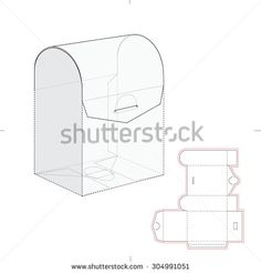 Box with double door lid and die cut pattern tarjetas y cia curved top retail box with blueprint template pronofoot35fo Images