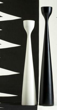 FREEMOVER.se Black and White. Rolf™ candlesticks and Prisma™ patterned eco-textiles. Design: Maria Lovisa Dahlberg.