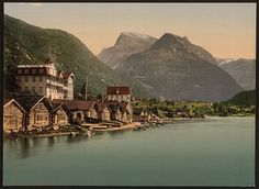 Loen in Stryn, Nordfjord, Norway. Skåla m.) in the background. Hotel Alexandra has changed a bit, but is one of the best hotels in Norway. Beautiful Sites, Beautiful Places, Amazing Places, Land Of Midnight Sun, Kingdom Of Sweden, Norway Travel, Photography Illustration, Europe Destinations, Old Postcards