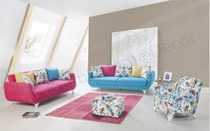 AS Koltuk Home Decor: For Sale - Pink, Blue and Floral Modern Sofa Set