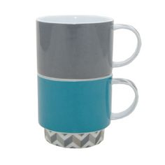 Chevron Stacking Mugs Teal/Grey  by Typhoon