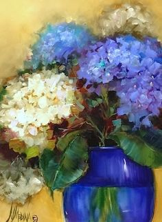 """Violet Rain Hydrangeas and DVD vs Streaming Art Lessons by Nancy Medina"" original fine art by Nancy Medina"