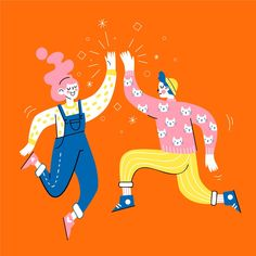 People giving high five Art And Illustration, Flat Design Illustration, People Illustration, Business Illustration, Character Illustration, Illustrations Posters, High Five, Posca Art, Art Vintage