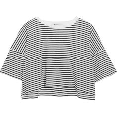 T by Alexander Wang Striped cotton-jersey T-shirt ($140) ❤ liked on Polyvore featuring tops and t-shirts