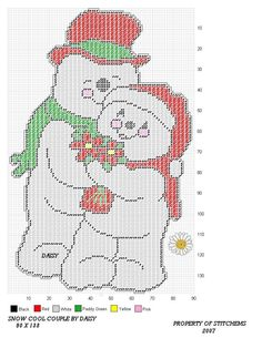 SNOW COOL COUPLE by DAISY*STITCHEMS -- WALL HANGING