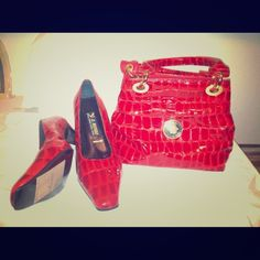 Handbag genuine with matching shoes (11) Red animal print heels and matching bag.  Nice office and church attire. Bags Shoulder Bags
