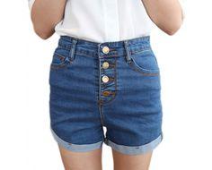 Stretch Multi-button Cuffed Denim Shorts