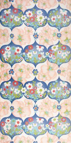 lieblingsteil 70er jahre tapete in blau lila gr n 70er tapeten pinterest vintage. Black Bedroom Furniture Sets. Home Design Ideas