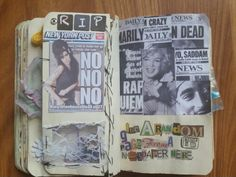 By Ellajoy -my wtj glue a random page from a newspaper here..Amy,Marilyn and Tupac death notices
