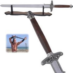 Atlantean Sword - Conan the Barbarian -Conan was a skilled warrior and a born leader. The first hit movie Conan the Barbarian was a hit. The movie shows the story of Conan, a born slave who struggles for his freedom. When young, he teams up with a group of thieves and finds the Sorcerer responsible for the destruction of his tribe. He finally kills the warlord and saves the other tribes. Conan used the Atlantean Sword in defeating all the enemies. He has experience of war.