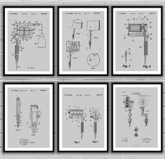Tattoo Patent Prints - Set of 6 - Tattoo Patent, Tattoo Poster, Tattoo gun Blueprint, Tattoo machine Print, Tattoo Art, tattoo Decor, sp35 by STANLEYprintHOUSE  18.00 USD  We use only top quality archival inks and heavyweight matte fine art papers and high end printers to produce a stunning quality print that's made to last.  Any of these posters will make a great affordable gift, or tie any room together.  Please choose between different sizes and co ..  https://www.etsy.com/ca/li..