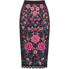EMBROIDERED LACE PENCIL SKIRT (150 BAM) ❤ liked on Polyvore featuring skirts, bottoms, pencil skirt, lacy skirt, knee length pencil skirt, embroidered skirt and embroidered pencil skirt