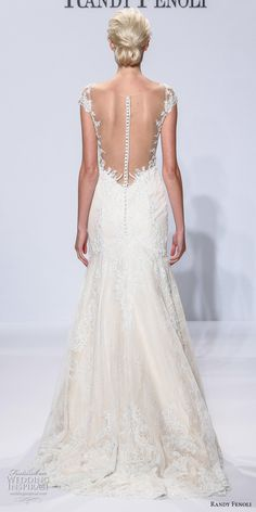randy fenoli spring 2018 bridal cap sleeves deep plunging sweetheart neckline full embellishment fit and flare wedding dress sheer button back sweep train (09) bv -- Randy Fenoli Bridal Spring 2018 Wedding Dresses