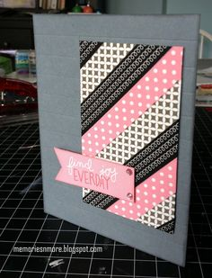 handmade card from Memories & More ... washi tape card ... black, gray and pink ... small panel with diagonal strips of washi  ... luv te strong graphic look ...