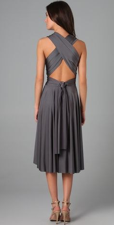 stunning grey dress…depending on season maybe a different color for bridesmaids? would be super cute for Sarah and Gina