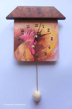 Rooster. Unique hand painted wall clock for bird lovers. #rooster #chicken #bird #clock #painting #homedecor #CanisArtStudio