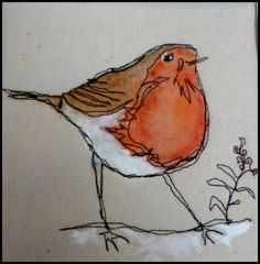 Loopy's Robin by Lynne White (UK): https://www.pinterest.com/loopylinnet/my-textile-art/