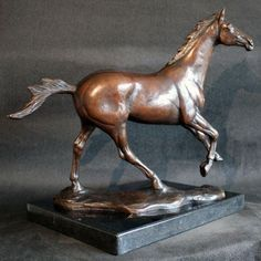 #Bronze #sculpture by #sculptor Amanda Hughes-Lubeck titled: 'Running Free (Little bronze Race Horse statue)'. #AmandaHughesLubeck