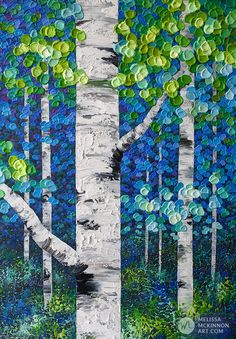 Birch Forest, Forest Art, Abstract Tree Painting, Abstract Art, Painting For Kids, Art For Kids, Birches, Illustration Art, Illustrations