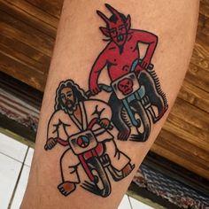 Beste Tattoo Old School Small Style Ideen - Beste Tattoo Old School Small Style Ideen - Devil Tattoo, 4 Tattoo, Jesus Tattoo, Tattoo Fonts, Body Art Tattoos, Sleeve Tattoos, Traditional Tattoo Devil, Traditional Tattoo Old School, Pirate Skull Tattoos