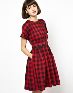Antipodium Hatchet Dress in Red Lumberjack Check