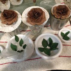 Fondant Leaves and Chocolate fondant flowers.