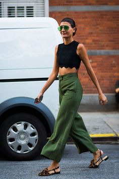 silk-pant outfits: crop top