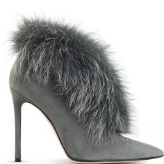 Gianvito Rossi fur-trimmed suede boot - ooh I would so have the perfect Outfit to go with these boots! - WANT