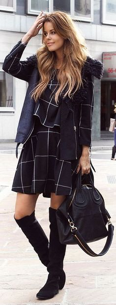 Weekday Black And White Long Sleeve Windowpane Skirt And Top Suit by Stylista