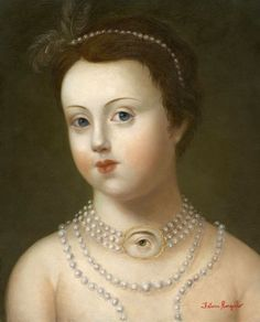 "Fatima Ronquillo, ""Girl with Pearls and Lover's Eye,"" oil on panel, 10 x 8 inches, SOLD Italian Renaissance, Renaissance Art, Sketch Painting, Figure Painting, La Danse Macabre, Lovers Eyes, Mourning Jewelry, Eye Jewelry, Jewellery"