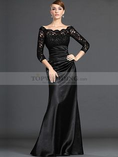 Three Quarter Sleeved Off the Shoulder Lace Bodice Satin Mother of the Bride Dress