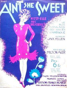 De Valerio - Ain't She Sweet? - 1927 vintage Art Deco music sheet