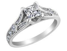 Princess Cut Diamond Engagement Ring 1.0 Carat (ctw) in 18K White Gold (Certified)