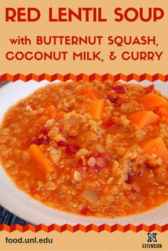 Red Lentil Soup recipe made with butternut squash, coconut milk and curry. A quick and tasty vegetarian recipe that everyone will like. It also freezes well.