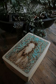 Wooden Box  ART NOUVEAU Horse Portrait  Colored by SantoArt