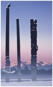 Roy Henry Vickers - Totems in the Mist kK Native Art, Native American Indians, Winslow Homer, Tlingit, Canadian Art, Indigenous Art, Vancouver Island, Western Art, First Nations