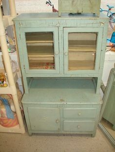 Vintage Childrens Kitchen Wood Cabinet