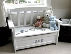 Could use part of an old crib to make this bench toy box