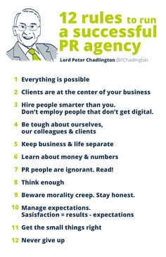 12 rules for a successful PR agency — Summary of the presentation by Lord Chadlington at the ICCO 2013 conference