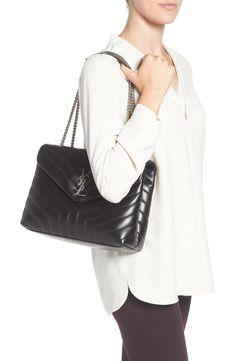 9d68b9770f1f YSL Loulou Calfskin Leather Shoulder Bag