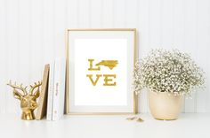 North Carolina love gold foil print/ state art/ NC by CatePaperCo