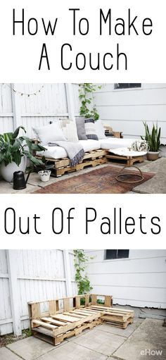 Como fazer um sofá de paletes, Home Accessories, DIY a couch out of pallets. This is a beautiful and easy to make piece you can add to your backyard, patio, or any room you want! Saves you so much mo. Unique Home Decor, Home Decor Items, Pallet Garden Furniture, Furniture Ideas, Garden Pallet, Diy Furniture Couch, Pallet Furniture How To Make, Outdoor Palette Furniture, Furniture Stores