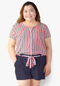 Since today is not an ordinary day, grab this stripe printed topped romper with sleeves. Zippered front, with side pockets, gartered waist with tie. This is both fun and dazzling!