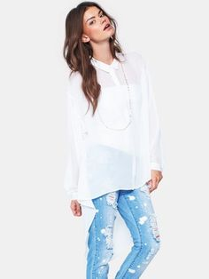 Love Label Dipped Hem Shirt